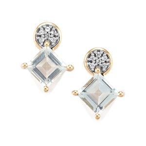 Pedra Azul Aquamarine & White Zircon 9K Gold Earrings ATGW 1.97cts