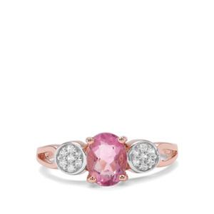 Natural Pink Fluorite & White Zircon 9K Rose Gold Ring ATGW 1.74cts