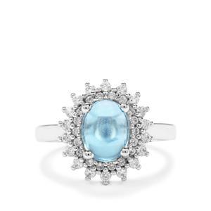 Swiss Blue Topaz & White Zircon Sterling Silver Ring ATGW 3.26cts