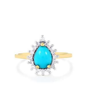 Sleeping Beauty Turquoise Ring with White Zircon in 9K Gold 1.27cts