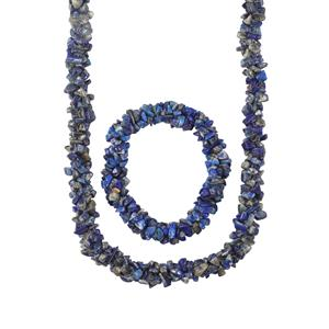 Lapis Lazuli Set of Nugget Bead Necklace with Stretchable Rope Bracelet 600cts