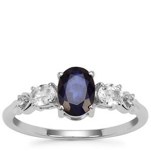 Ceylon Blue Sapphire Ring with Ceylon White Sapphire in 9K White Gold 1.53cts