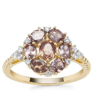 Miova Loko Garnet Ring with White Zircon in 9K Gold 1.82cts