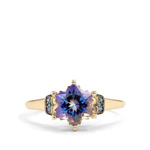Mystic Blue Topaz Wobito Snowflake Ring with Blue Diamond in 10k Gold 2.84cts