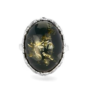 Baltic Green Amber Ring in Sterling Silver (19 x 14mm)