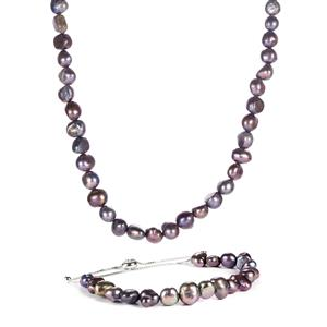 Kaori Cultured Pearl Sterling Silver Set of Slider Bracelet & Necklace (6.50mm)