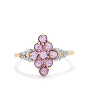 Rose Cut Purple Sapphire Ring with White Zircon in 9K Gold 1cts