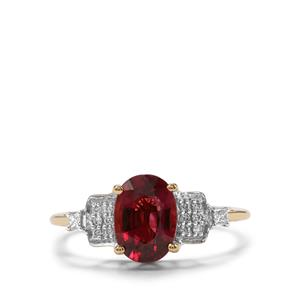 Nigerian Rubellite & Diamond 18K Gold Tomas Rae Ring MTGW 1.67cts