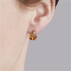 Lehrer QuasarCut Madeira Citrine & Diamond 9K Gold Earrings ATGW 3.09cts