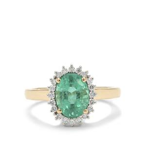 Ethiopian Emerald Ring with Diamond in 18K Gold 2.40cts