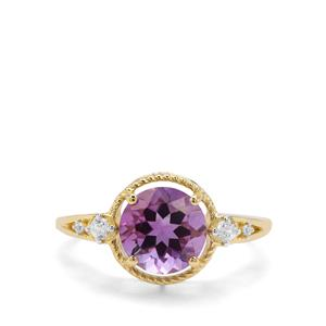 Moroccan Amethyst & White Zircon 9K Gold Ring ATGW 1.96cts