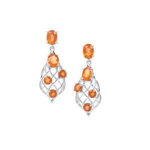 Mandarin Garnet Earrings in Sterling Silver 7.09cts