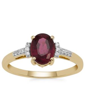 Nigerian Rubellite Ring with White Zircon in 9K Gold 1.40cts