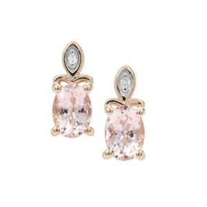 Nigerian Morganite Earrings with Diamond in 9K Gold 1.40ct