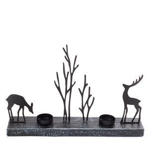 Reindeer Metal Winter Woodland Scene 2 x Tealight holder