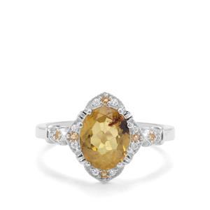Burmese Amber, Rio Golden Citrine & White Zircon Sterling Silver Ring ATGW 0.76ct