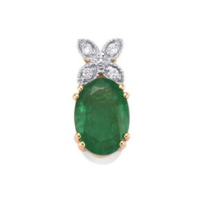 Zambian Emerald Pendant with Diamond in 14K Gold 1.48cts