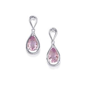 Rose De France Amethyst & White Topaz Sterling Silver Earrings ATGW 5.39cts