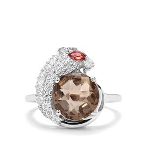 Smokey Quartz, Rajasthan Garnet & White Zircon Sterling Silver Ring ATGW 4.14cts