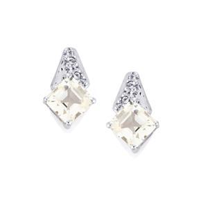 1.85ct White Topaz Sterling Silver Asscher Cut Earrings