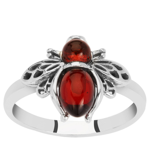 Baltic Cherry Amber Ring in Sterling Silver