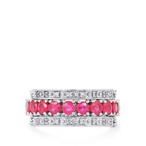 Sokoto Emerald, Siam Ruby & White Topaz Sterling Silver Reversible Ring ATGW 3.28cts (F)