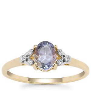 Bi Colour Tanzanite Ring with White Zircon in 9K Gold 0.74ct