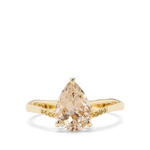Serenite & Yellow Diamond 9K Gold Ring ATGW 1.81cts