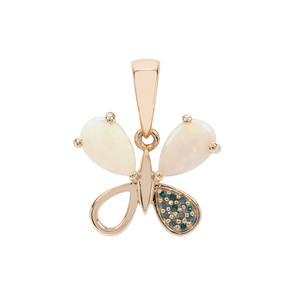 Coober Pedy Opal Pendant with Blue Diamond in 9K Gold 1.04cts