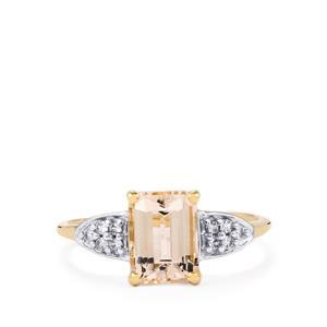 Rose Danburite & White Zircon 10K Gold Ring ATGW 1.81cts