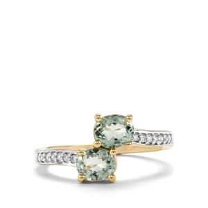 Cuprian Tourmaline Ring with Diamond in 18K Gold 1.18cts