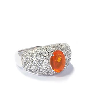 Fire Opal & White Zircon Sterling Silver Ring ATGW 3.07cts