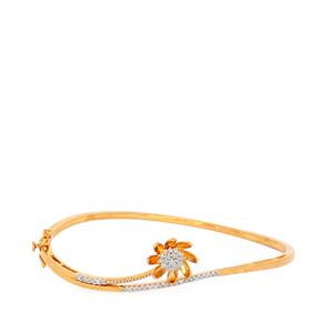 1/3ct Diamond Bangle in Gold Plated Sterling Silver