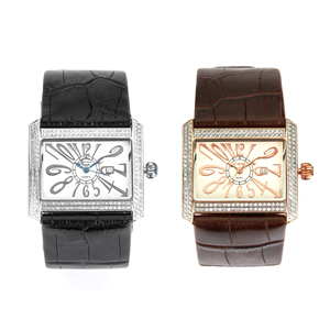 Diamond Stainless Steel Watch with Leather Strap 0.82ct