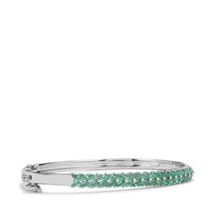 2.66ct Zambian Emerald Sterling Silver Oval Bangle