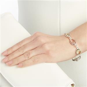 27.41ct Prasiolite & Pink Amethyst Sterling Silver Aryonna Bracelet