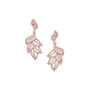 1.50ct Pink Diamond 9K Rose Gold Leaf Design Tomas Rae Earrings
