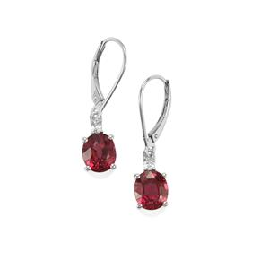 Malawi Garnet Earrings with Diamond in 18K White Gold 4.53cts