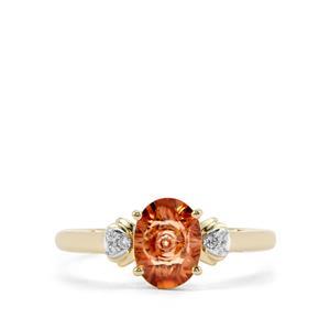 Lehrer QuasarCut Zanzibar Sunburst Zircon Ring with Diamond in 10K Gold 1.61cts