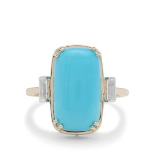 Sleeping Beauty Turquoise Ring with White Zircon in 9K Gold 7.05cts