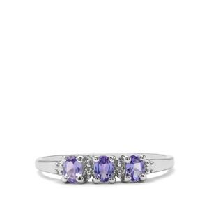 AA Tanzanite & Diamond Sterling Silver Ring ATGW 0.48cts