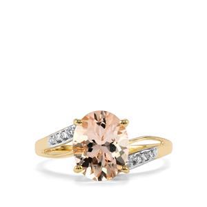 Alto Ligonha Morganite Ring with Diamond in 10k Gold 2.25cts