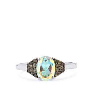 Mercury Mystic Topaz & Champagne Diamond Sterling Silver Ring ATGW 1.60cts