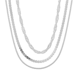 """18"""" Sterling Silver Set of 3 Chains 8.28g"""