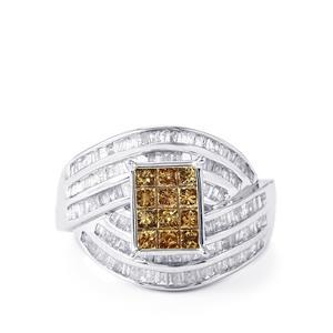 1.70ct Champagne & White Diamond 10K White Gold Ring