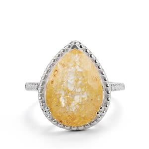 8.13ct Yellow crackled Quartz Sterling Silver Ring