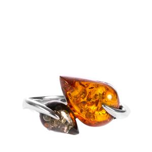 Baltic Cognac & Green Amber Sterling Silver Ring