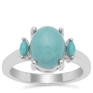 Sleeping Beauty Turquoise Ring in Sterling Silver 2.42cts