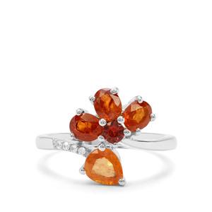 Mandarin, Nampula Garnet & White Zircon Sterling Silver Ring ATGW 2.88cts