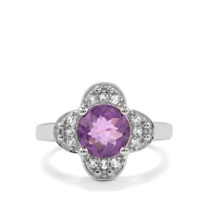 Zambian Amethyst & White Topaz Sterling Silver Ring ATGW 2.06cts